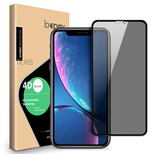 Privacy Screen Protector Compatible for iPhone XR - ICHECKEY 4D Curved Anti-Spy Anti-Peeping Tempered Glass Screen Cover Shield for Apple iPhone XR, 6.1 Inch – Black