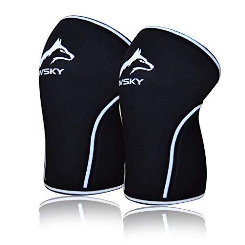 HVSKY Fitness | Knee Sleeves Crossfit for Knee Support: Powerlifting Knee Sleeves – 7mm Knee Sleeves – Knee Compression Brace – Competition Grade 2-Pack with Gym Bag