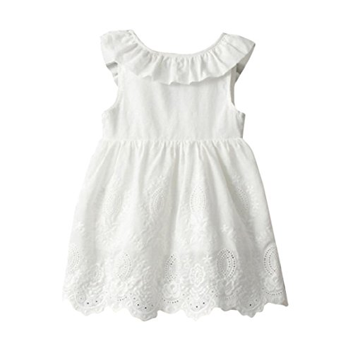 Girls Princess Puff (Fabal Princess Girl Dress Kids Big Bow Girl Dress Children Clothing Dress (3T, White))