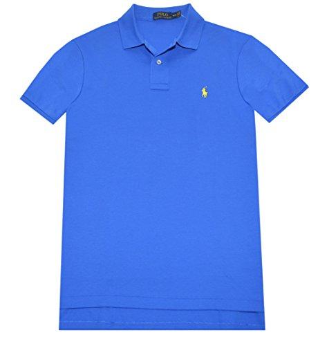 Rlaph Lauren Men's Interlock Medium Fit Polo Shirt (L, Spa Royal/Yellow Pony)