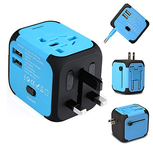 (Ailuner Travel Adapter,Worldwide Power Converters Universal World Travel Plug Adapter with 2.4A Dual USB Charger & Worldwide AC Wall Outlet Plugs for USA EU UK AU. (Blue))