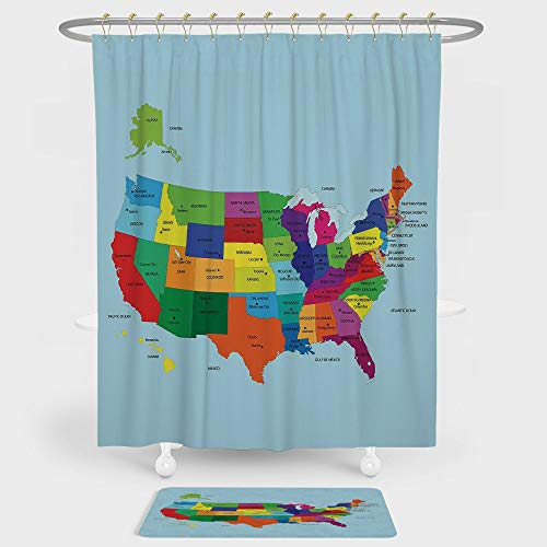 Kids Shower Curtain And Floor Mat Combination Set Educational Map of America USA with States and Capitals City California Texas New York Printed Art Decorative For decoration and daily use -