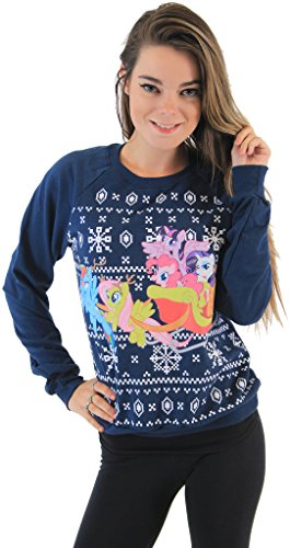 My Little Pony Group Sleigh Ride Snowflakes Navy Sweatshirt (Juniors Large)