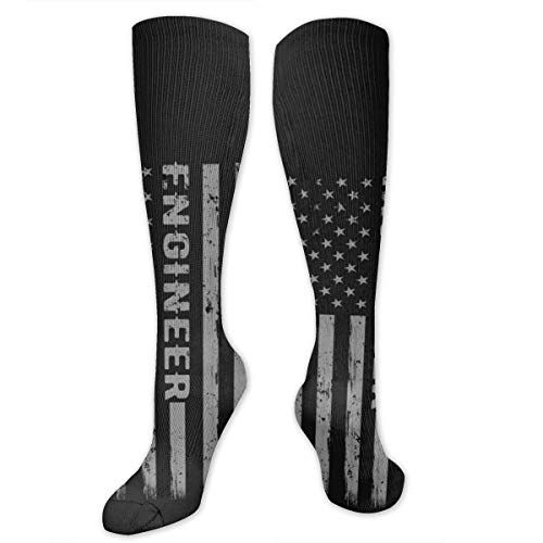Personalized Socks With Engineer Flag Print, Long Knee High Boot Socks]()