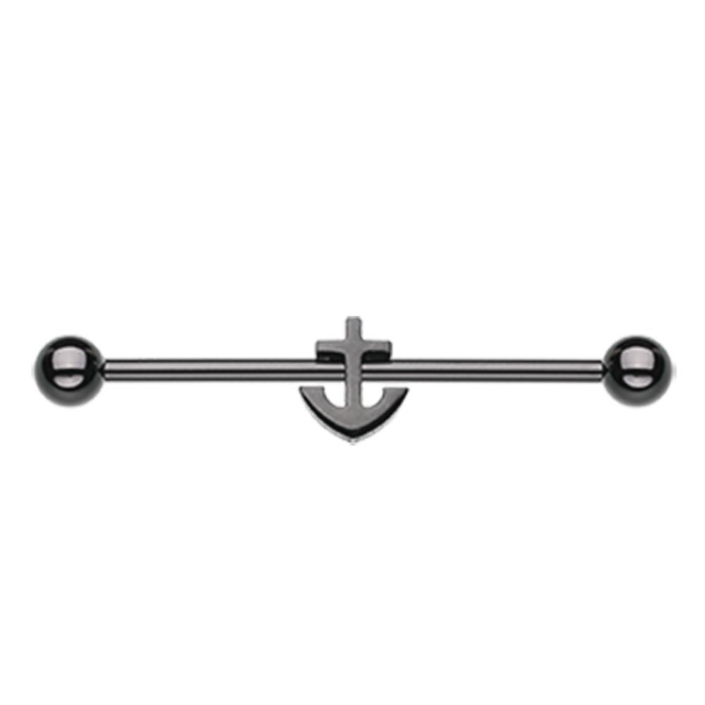 Sold Individually 14G Black Colorline Dainty Anchor Industrial Barbell