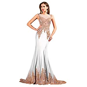 ORIENT BRIDE Women's Mermaid Evening Dresses Crystal Prom Gown Size 2 US White