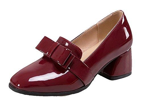 23c9846747b348 VogueZone009 Damen Mittler Rein Ziehen auf Lackleder Quadratisch Zehe Pumps  Schuhe Weinrot