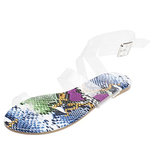 perfectCOCO Women's Flat Sandals Open Toe Snake Pattern Sandals Roman Plus Size Flat Sandals Beach Travel Shoes Flip-Flop
