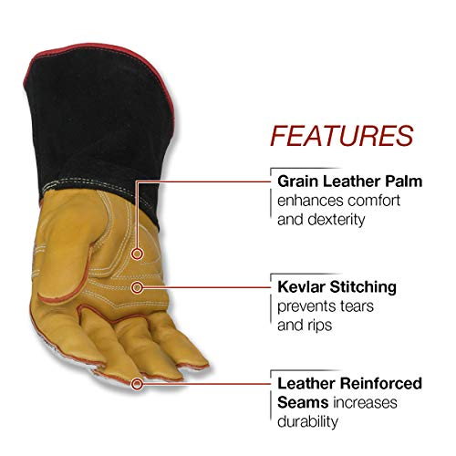 Lincoln Electric Heat Resistant Welding Gloves |Aluminized Reflective Hand | Large | K2982-L by Lincoln Electric (Image #2)
