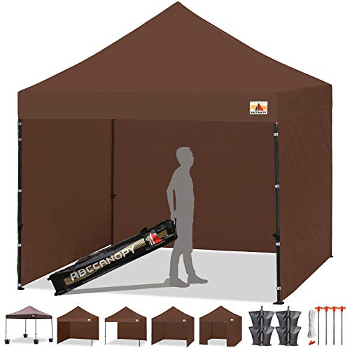 ABCCANOPY 18+Colors 8ft by 8ft Ez Pop up Canopy Tent Commercial Instant Gazebos with 4 Removable Sides and Roller Bag and 4X Weight Bag (Brown)