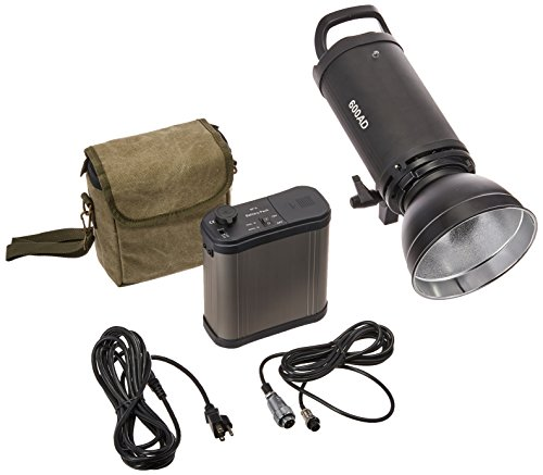 CowboyStudio Dual Power AC/DC 110v Mettle 600W Flash, Professional Strobe Flash Light, with Rechargeable Battery Pack -