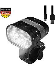 WESTGIRL LED Fahrradlicht, StVZO Zugelassen USB Wiederaufladbar Fahrradbeleuchtung, Wasserdicht Frontlicht, 3200mAh 320Lumen Fahrradscheinwerfer Fahrradlampe Radsport Zubehör