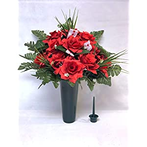 Cemetery Vase Arrangement ~ Beautiful Red Open Rose Flowers Mixture Cemetery Flowers for a 3 Inch Vase 104
