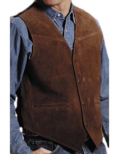 Roper Men's Suede Buckle Tie Vest Brown Small