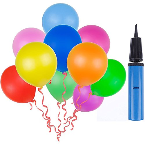 Lictin 100pcs Randomly Assorted Colors Party Balloons with a Blue Balloon Pump/ Compressor/Air Inflator for Party, Birthday, Wedding, Holiday, Anniversary and Other Celebrations