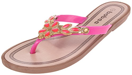 Enimay Rhinestone Strap Slip-on Flat Flip-flop Rem Sandal Rosa 6