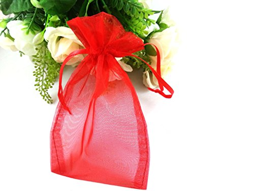 Red Organza Gift Bags (SumDirect 100Pcs 4