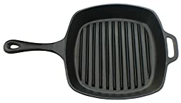 Utopia Kitchen Pre-Seasoned Cast-Iron Square Grill Pan, 10.5-inch