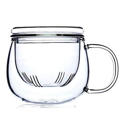 Victory-eu - Taza de te de cristal de borosilicato con funcion de filtro y tapa de cristal resistente al calor, para uso en oficina y en el hogar, 300 ml