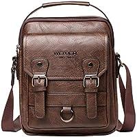 QIUUE 2020 Men's Vintage Artificial Leather Crossbody Shoulder Messenger Bag (Coffee)