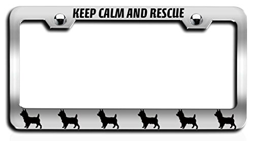 Makoroni - KEEP CALM AND RESCUE CAIRN TERRIER Dogs Pets Ch Steel License Plate Frame, License Tag Holder