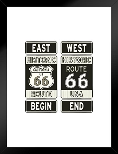 (Poster Foundry Historic California Route 66 Beginning and Ending Road Sign Matted Framed Wall Art Print 20x26 inch)