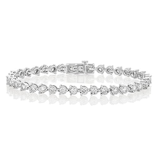 14K White Gold Diamond Tennis Bracelet (4.00 cttw, I-J Color, I2-I3 Clarity), 7.00'' by Brilliant Diamond