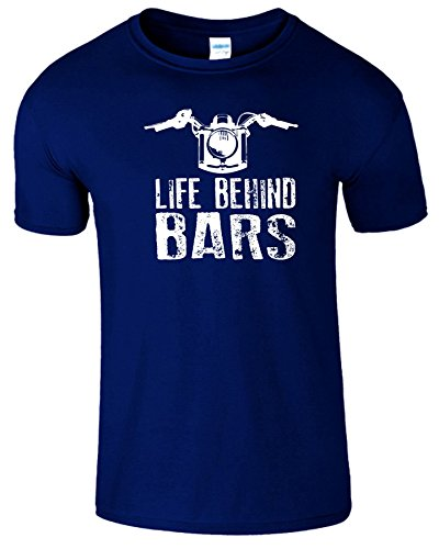 "SNS Online Marine Blau / Weiß Design - 4XL - Brustumfang : 60"" - 62"" - Life Behind Bars Frauen Der Männer Damen Unisex T Shirt"