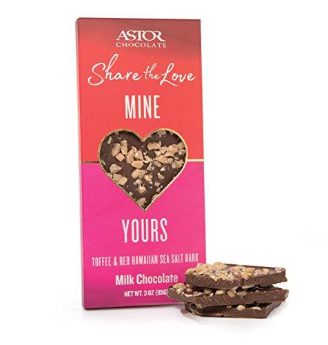 ASTOR Chocolate SHARE THE LOVE 3 oz Belgian Milk Toffee and Red Hawaiian Sea Salt Bark Bar - 12 pc