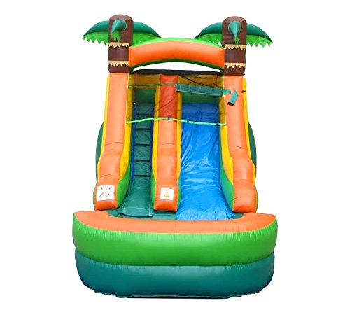 Pogo Bounce House Inflatable Water Slide, 12-Foot Tall, 21-Foot Long, 9-Foot Wide, Crossover Tropical Oasis Complete, with Included Blower, Stakes, Repair Kit, and Storage Bag