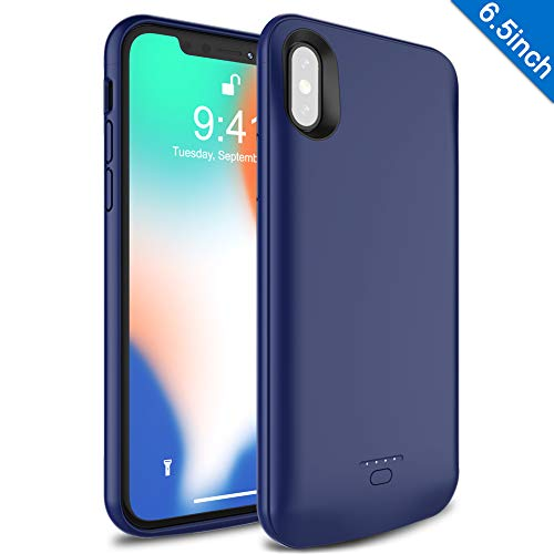 - iPhone XS Max Battery Case, Wavypo 5000mAh Ultra Slim Extended Rechargeable Charger Case Portable Power Bank External Battery Pack Protective Charging Case For iPhone XS Max (6.5inch)-Blue