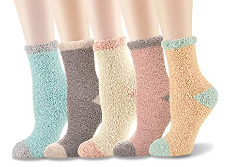 Fuzzy Fluffy Socks Comfy for Women Men Christmas Ankle Colorful Toe Bed Socks Pack Super Soft Warm Home Sleeping Slipper Socks (White,Blue,Pink,Yellow,Grey)