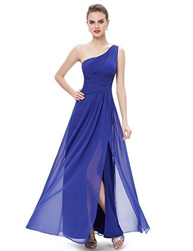 Ever Pretty Womens One Shoulder Floor Length Black Tie Affair Dress 12 US Sapphire Blue