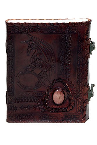 Imperial Handmade Leather Journal Embossed Moon Dragon and Side Gem Notebook Diary Sketchbook Travel And Thought Blank Book for Writing & Sketching (8 X 6'') - Brown by Imperial Handicrafts