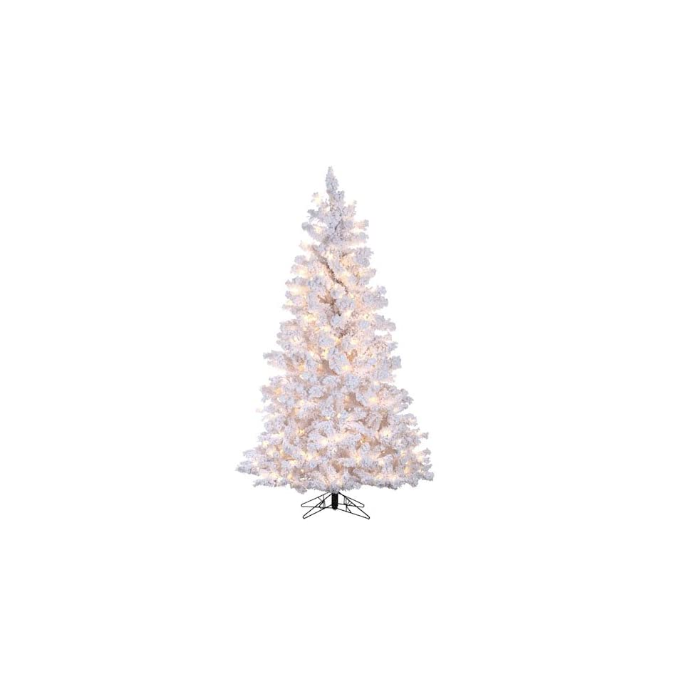 4 Pre Lit Deluxe Flocked White Pine Artificial Christmas Tree   Clear Lights