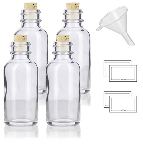 1 oz Clear Glass Boston Round Bottle with Cork Stopper Closure (4 Pack) + Funnel and ()