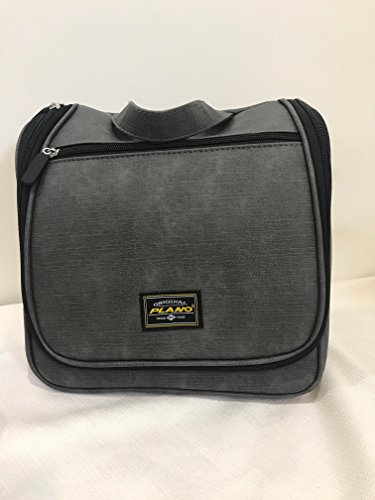 Caboodles Glam to Go Makeup Cosmetic Hanging Travel Tote Grey Faux Leather or Denim Look