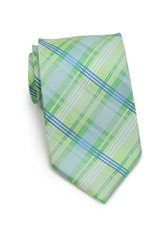 Bows-N-Ties Men's Necktie Summer Plaid Microfiber Satin Ties 3.25 Inches (Lime Green and Pool Blue) ()