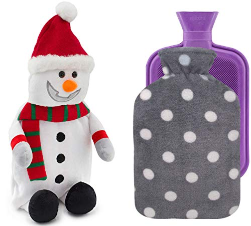 HomeTop Premium Classic Rubber Hot Water Bottle with Cute Snowman Cover and Soft Fleece Cover (2L, Snowman + Gray Polka Dot/Purple)