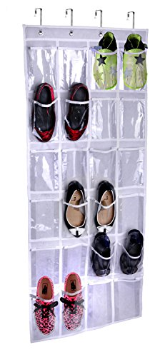 Storage Over The Door Hanging Shoe Organizer By Lebogner - Shoe Storage With Unique 24 See-Through Reinforced Vinyl Pouches, Complete With 4 Customized Metal Over The Door Hooks