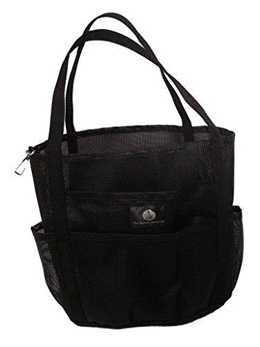 Dolphin Bag, Medium Mesh Beach Bag Tote, 7 pockets , zip, Black – 5 (Dolphin Bag)