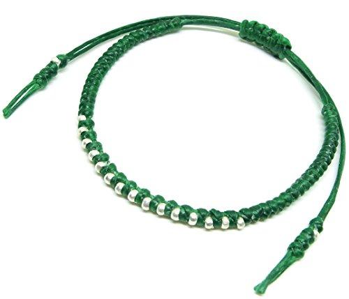 Asian Silver Bracelet (BUSABAN Asian Handmade Bracelet 925 Silver Beads Green Wax String)