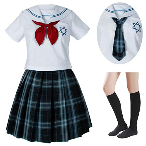 Japanese School Girls Sailor JK Uniform White Navy Blue Pleated Skirt Anime Cosplay Costumes with Socks Set(SSF25) -