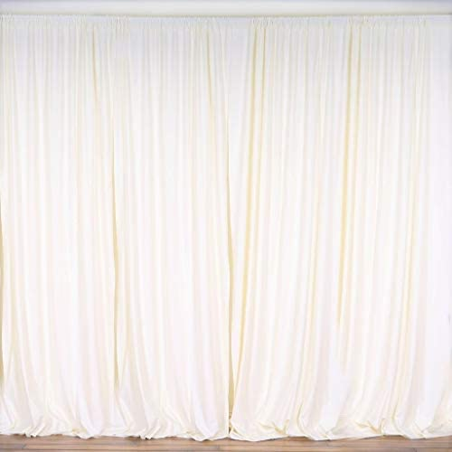 New Creations Fabric Foam 10 Feet Wide by 10 Feet High Polyester Backdrop Drapes Curtain Panels – Ivory