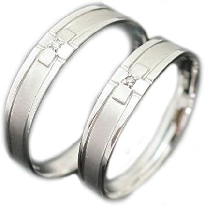 ペアリング K10 ホワイトゴールド リング マリッジリング 2本セット 結婚指輪 天然 ダイヤモンド 日本製