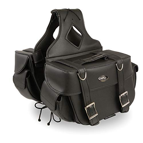 - Milwaukee Performance SH57403ZB Black Medium Zip-Off PVC Throw Over Two Strap Saddle Bag
