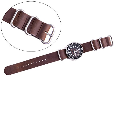 Ritche Genuine Leather NATO strap 20mm Rich Brown Replacement timex weekender watch band Photo #2