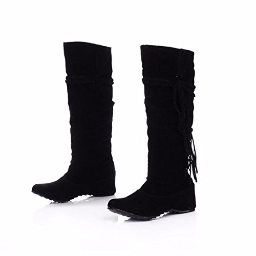 The increase in size of winter scrub fringed boots high boots students Black (plus cashmere) UDCfeLJk