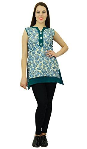 Phagun étnico Patrón Top algodón de las mujeres Shell Kurti diseñador vestido de la túnica Kurta Beige y azul