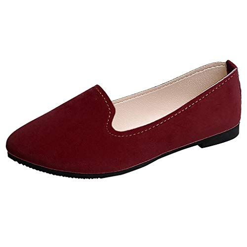 ✔ Hypothesis_X ☎ Women Girls Multi-Color Shallow Mouth Lazy Shoes Casual Shoes Flat Shoes Work Shoes Single Shoes Wine